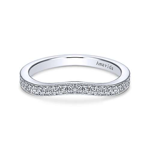 18k White Gold Victorian Curved