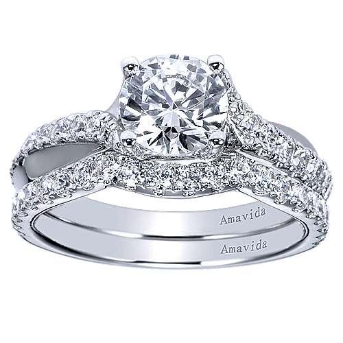 18k White Gold Diamond Curved Wedding Band angle 4