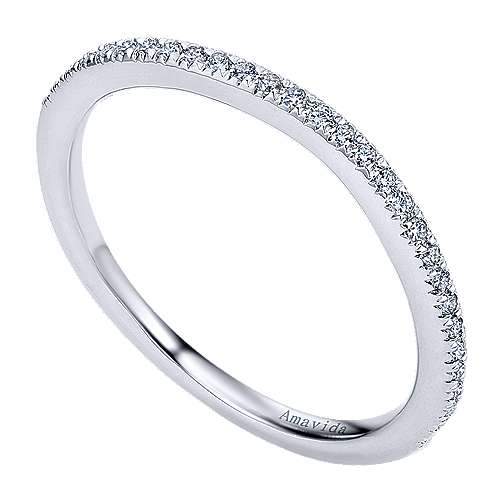 18k White Gold Diamond Curved Wedding Band angle 3