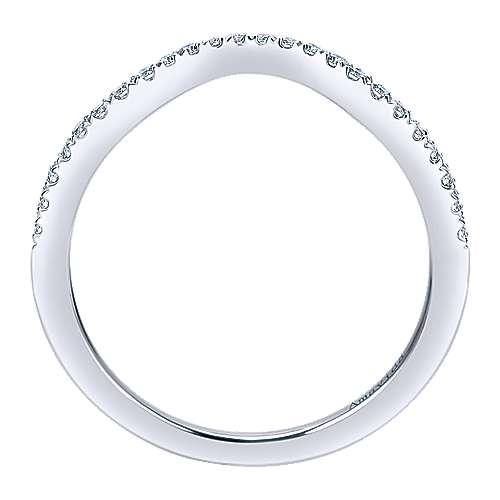 18k White Gold Diamond Curved Wedding Band angle 2