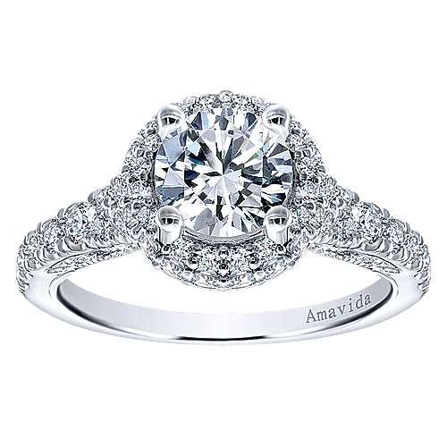 18k White Gold Diamond Double Halo Engagement Ring angle 5