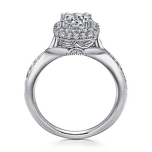 18k White Gold Diamond Double Halo Engagement Ring angle 2