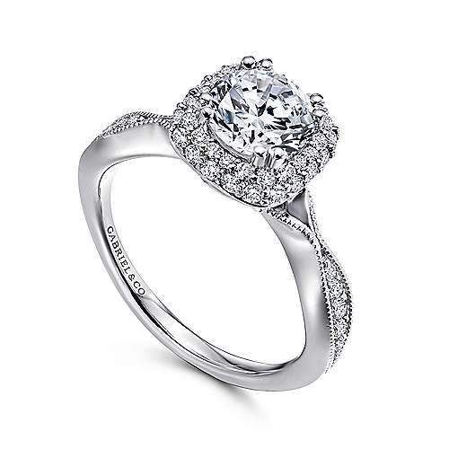 18k White Gold Diamond Double Halo Engagement Ring angle 3