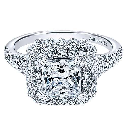 Gabriel - 18k White Gold Princess Cut Double Halo Engagement Ring