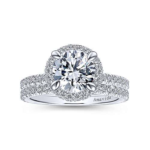 18k White Gold Diamond Double Halo Engagement Ring angle 4
