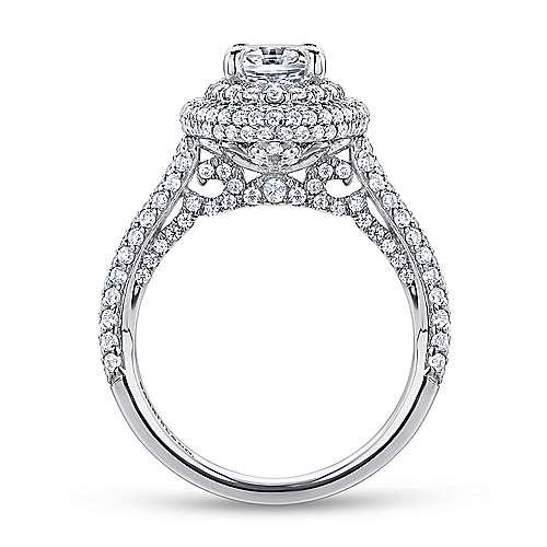 18k White Gold Diamond Double Halo Engagement Ring angle 2