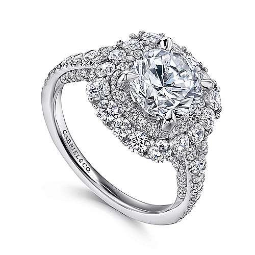 18k White Gold Diamond Double Halo Engagement Ring angle 3