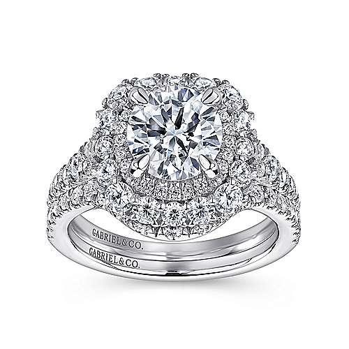 18k White Gold Diamond Double Halo Engagement Ring angle 4