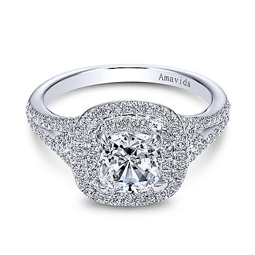 Gabriel - 18k White Gold Cushion Cut Double Halo Engagement Ring