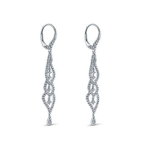 18k White Gold Diamond Drop Earrings angle 2