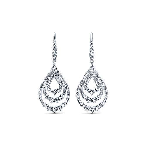18k White Gold Diamond Drop Earrings angle 1