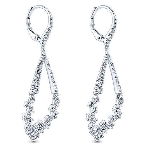 18k White Gold Diamond Drop Earrings angle 2