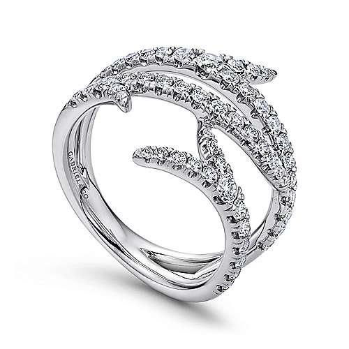 18k White Gold Diamond Edgy Asymmetrical Wide Band Ladies
