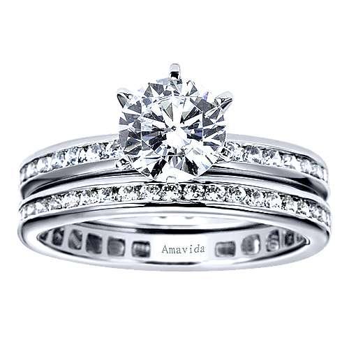 18k White Gold Diamond Eternity Band Wedding Band angle 4