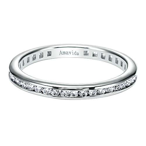 Gabriel - 18k White Gold Contemporary Eternity Band Wedding Band
