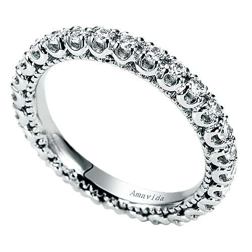 18k White Gold Diamond Eternity Band Wedding Band angle 3