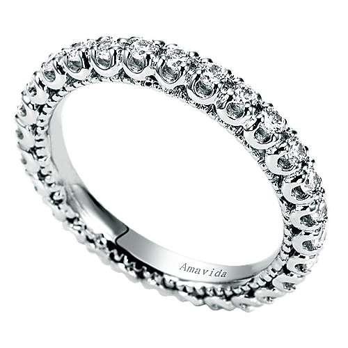 18k White Gold Diamond Eternity Band Wedding Band angle 3
