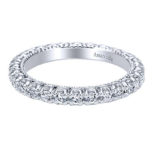 18k White Gold Diamond Eternity Band Wedding Band angle 1