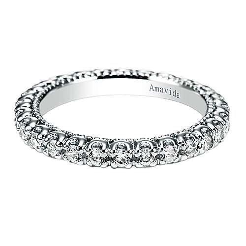 18k White Gold Diamond Eternity Wedding Band angle 1