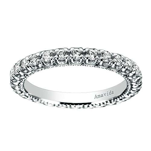 18k White Gold Diamond Eternity Wedding Band angle 5