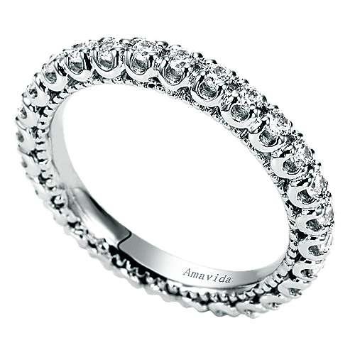 18k White Gold Diamond Eternity Wedding Band angle 3
