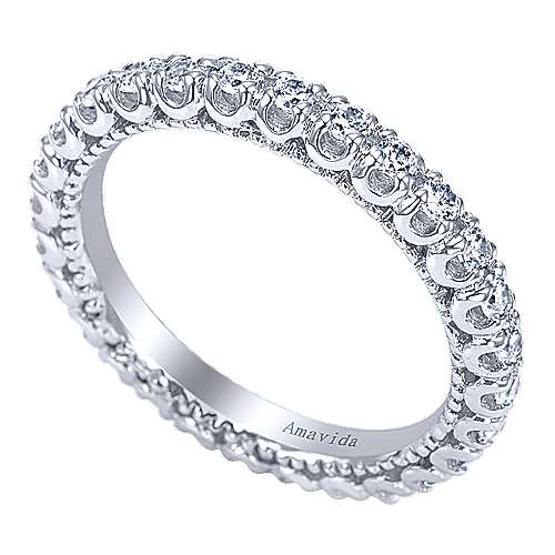 18k White Gold Diamond Eternity Wedding Band angle 3