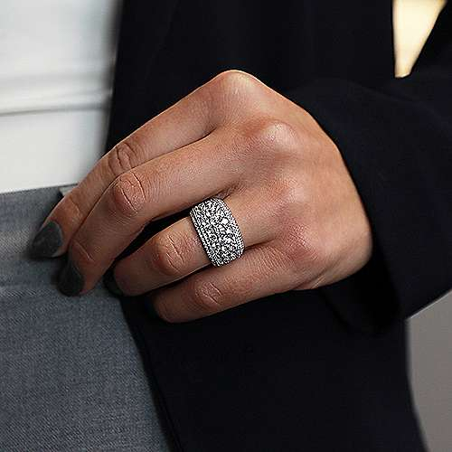 18k White Gold Diamond Fancy Anniversary Band angle 5