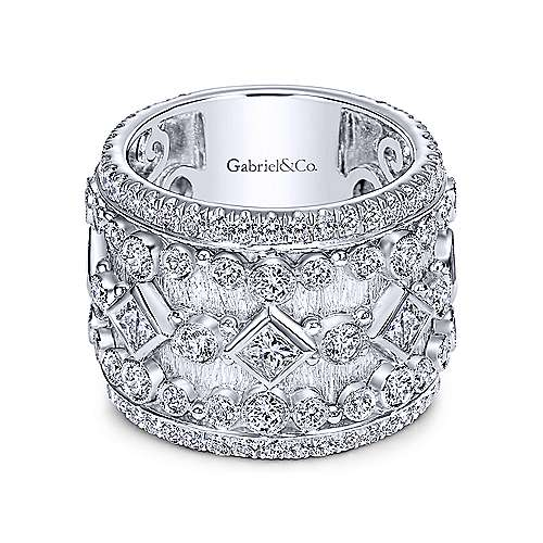 Gabriel - 18k White Gold Victorian Fancy Anniversary Band