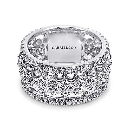 18k White Gold Diamond Fancy Anniversary Band angle 1