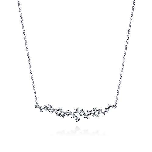 Gabriel - 18k White Gold Waterfall Bar Necklace