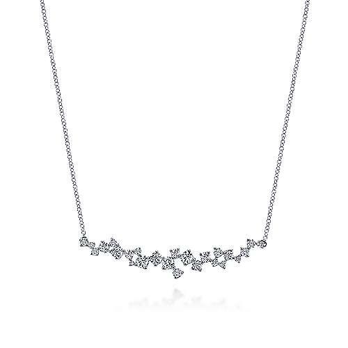 Gabriel - 18k White Gold Waterfall Bar Necklace