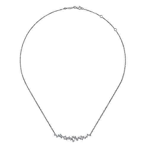 18k White Gold Diamond Fashion Freeform Pave Pendant Necklace angle 2