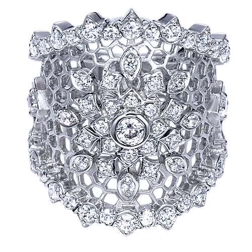 Gabriel - 18k White Gold Mediterranean Fashion Ladies' Ring