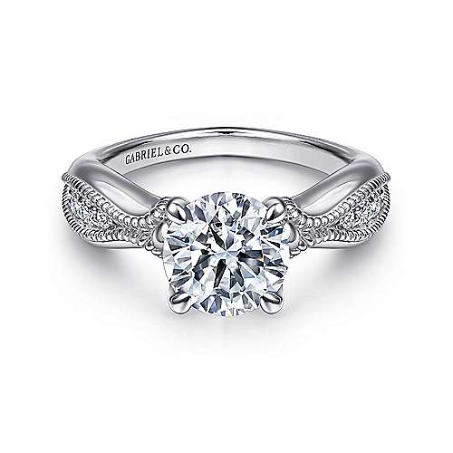 Gabriel - 18k White Gold Round Free Form Engagement Ring