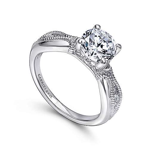 18k White Gold Diamond Free Form Engagement Ring angle 3