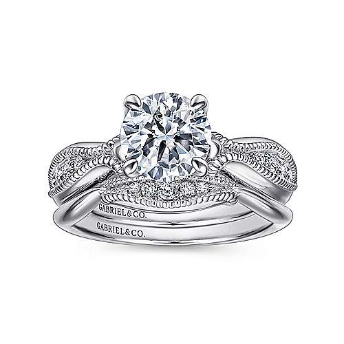 18k White Gold Diamond Free Form Engagement Ring angle 4
