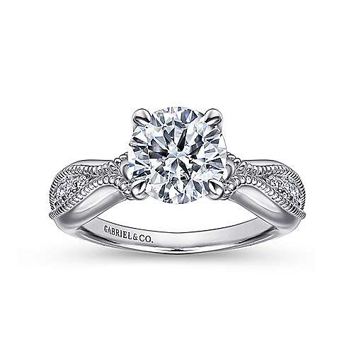 18k White Gold Diamond Free Form Engagement Ring angle 5