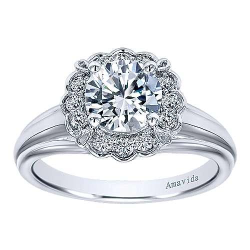18k White Gold Diamond Halo Engagement Ring angle 5