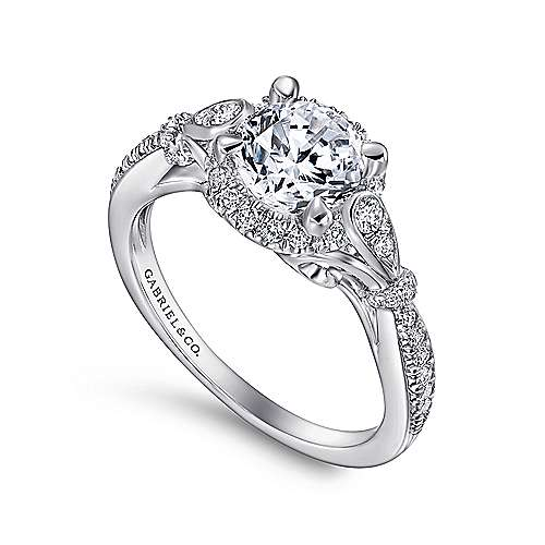 18k White Gold Diamond Halo Engagement Ring angle 3