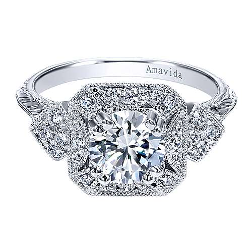 Gabriel - 18k White Gold Empire Engagement Ring