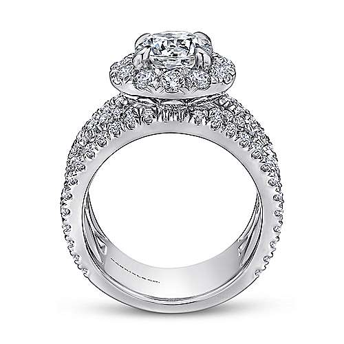 18k White Gold Diamond Halo Engagement Ring angle 2