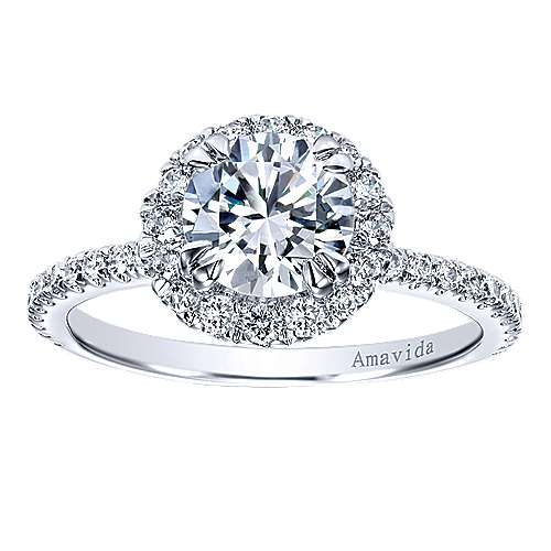 18k White Gold Diamond Halo Engagement Ring angle 5