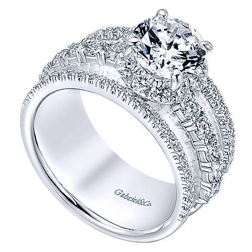 18k White Gold Diamond Halo Engagement Ring angle 3