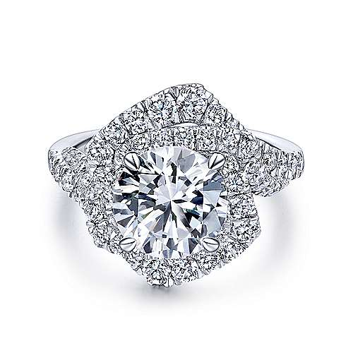 Gabriel - 18k White Gold Rosette Engagement Ring