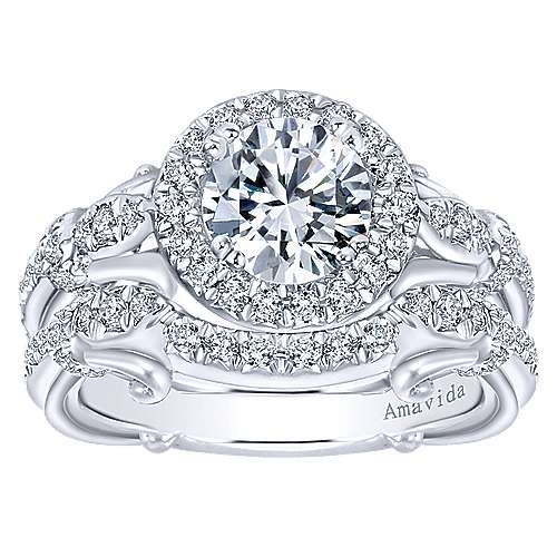 18k White Gold Diamond Halo Engagement Ring angle 4