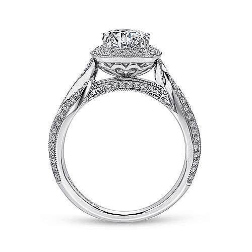 18k White Gold Diamond Halo Engagement Ring angle 2