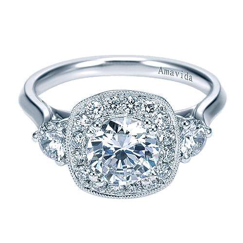 18k White Gold Diamond Halo Engagement Ring angle 1