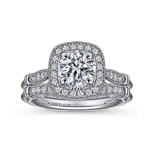 18k White Gold Diamond Halo Engagement Ring angle 4
