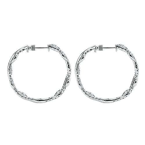 18k White Gold Diamond Intricate Hoop Earrings angle 3
