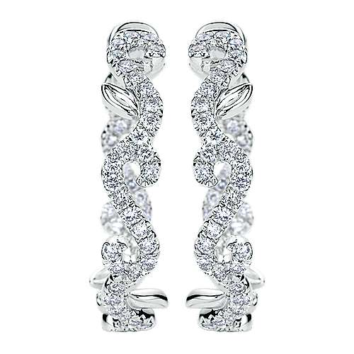 Gabriel - 18k White Gold Amavida Fashion Intricate Hoop Earrings
